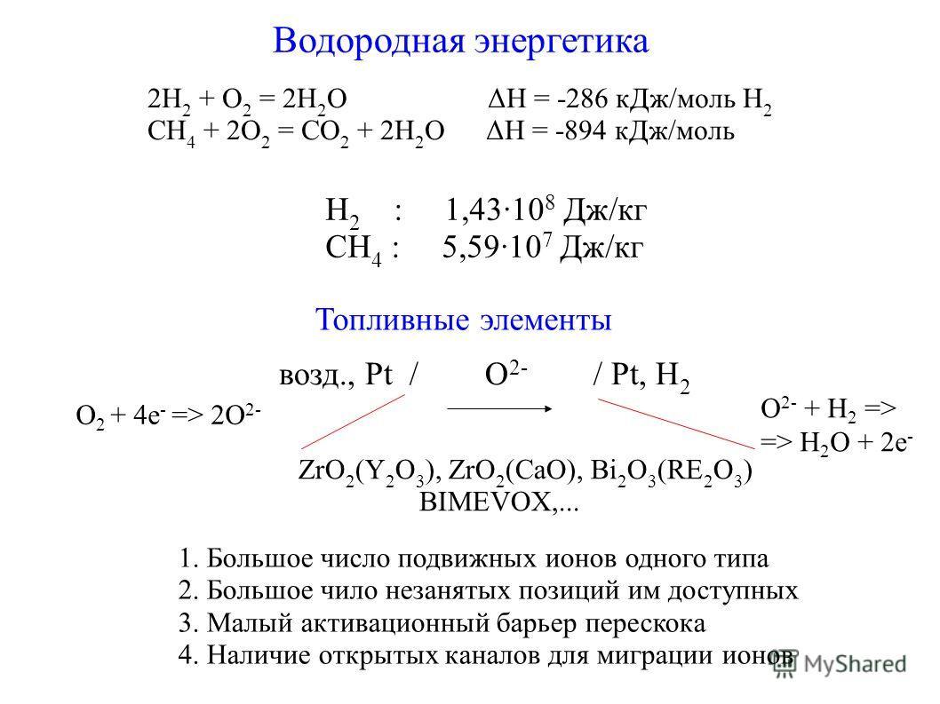 Водородная энергетика 2H 2 + O 2 = 2H 2 O ΔH = -286 кДж/моль H 2 CH 4 + 2O 2 = CO 2 + 2H 2 O ΔH = -894 кДж/моль H 2 : 1,4310 8 Дж/кг CH 4 : 5,5910 7 Дж/кг Топливные элементы возд., Pt / O 2- / Pt, H 2 ZrO 2 (Y 2 O 3 ), ZrO 2 (CaO), Bi 2 O 3 (RE 2 O 3
