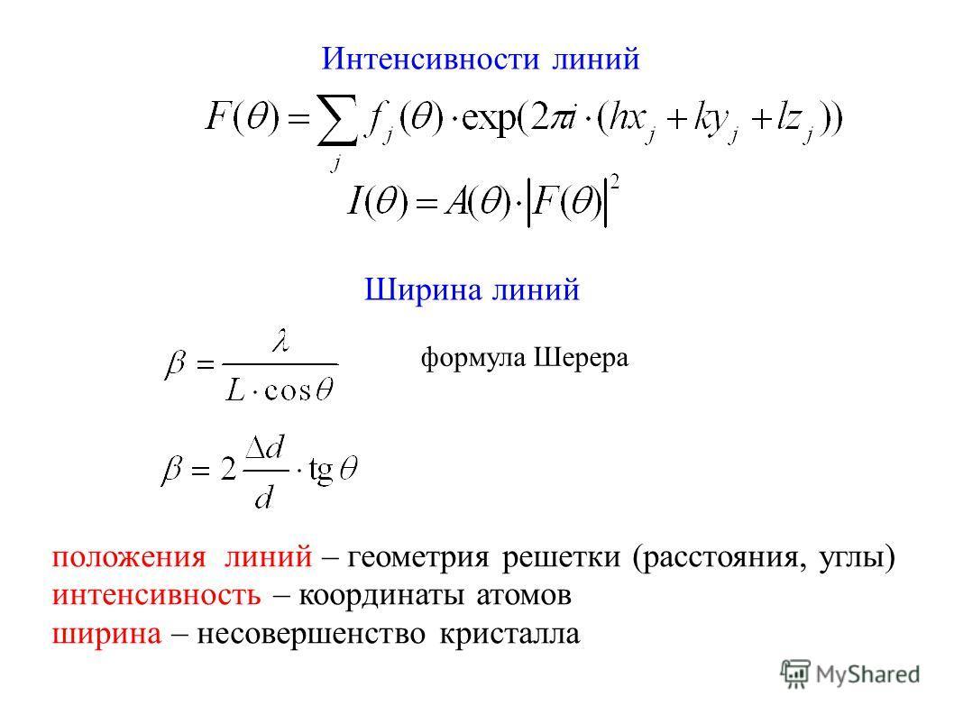 Интенсивности линий Ширина линий формула Шерера положения линий – геометрия решетки (расстояния, углы) интенсивность – координаты атомов ширина – несовершенство кристалла