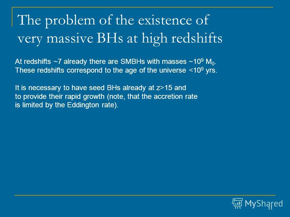 11 The problem of the existence of very massive BHs at high redshifts At redshifts ~7 already there are SMBHs with masses ~10 9 M 0. These redshifts correspond to the age of the universe 15 and to provide their rapid growth (note, that the accretion