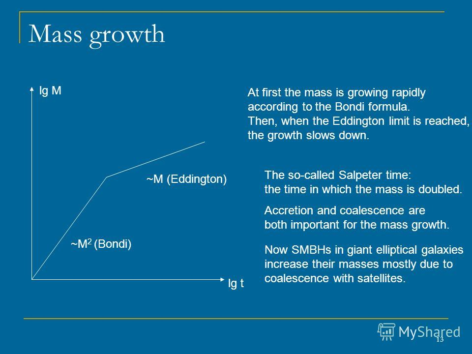13 Mass growth lg М ~M 2 (Bondi) ~M (Eddington) lg t At first the mass is growing rapidly according to the Bondi formula. Then, when the Eddington limit is reached, the growth slows down. The so-called Salpeter time: the time in which the mass is dou