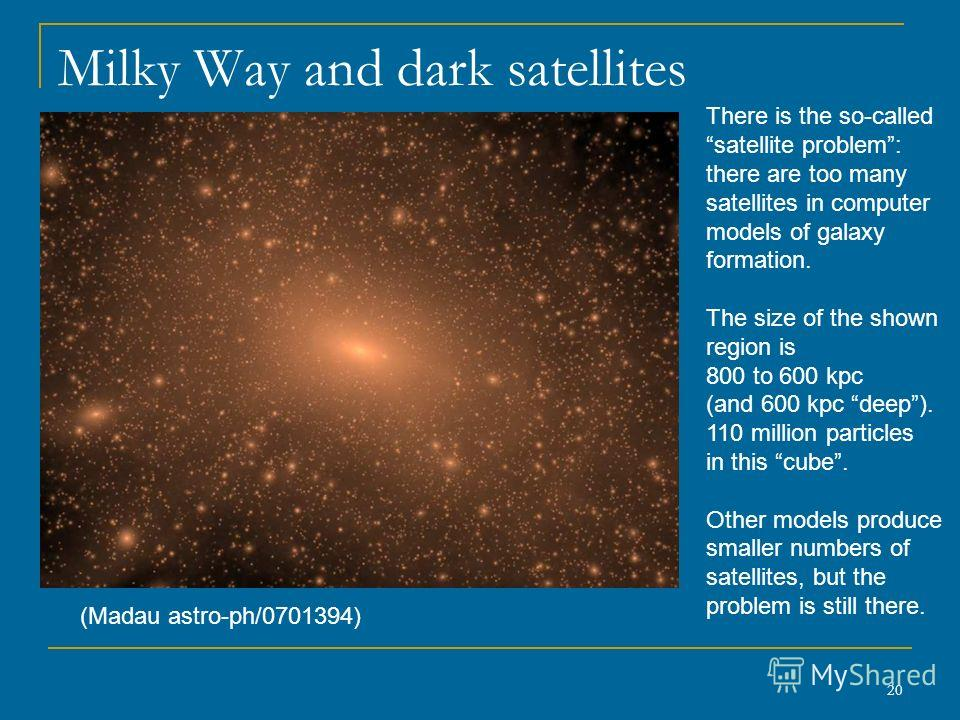 20 Milky Way and dark satellites (Madau astro-ph/0701394) There is the so-called satellite problem: there are too many satellites in computer models of galaxy formation. The size of the shown region is 800 to 600 kpc (and 600 kpc deep). 110 million p
