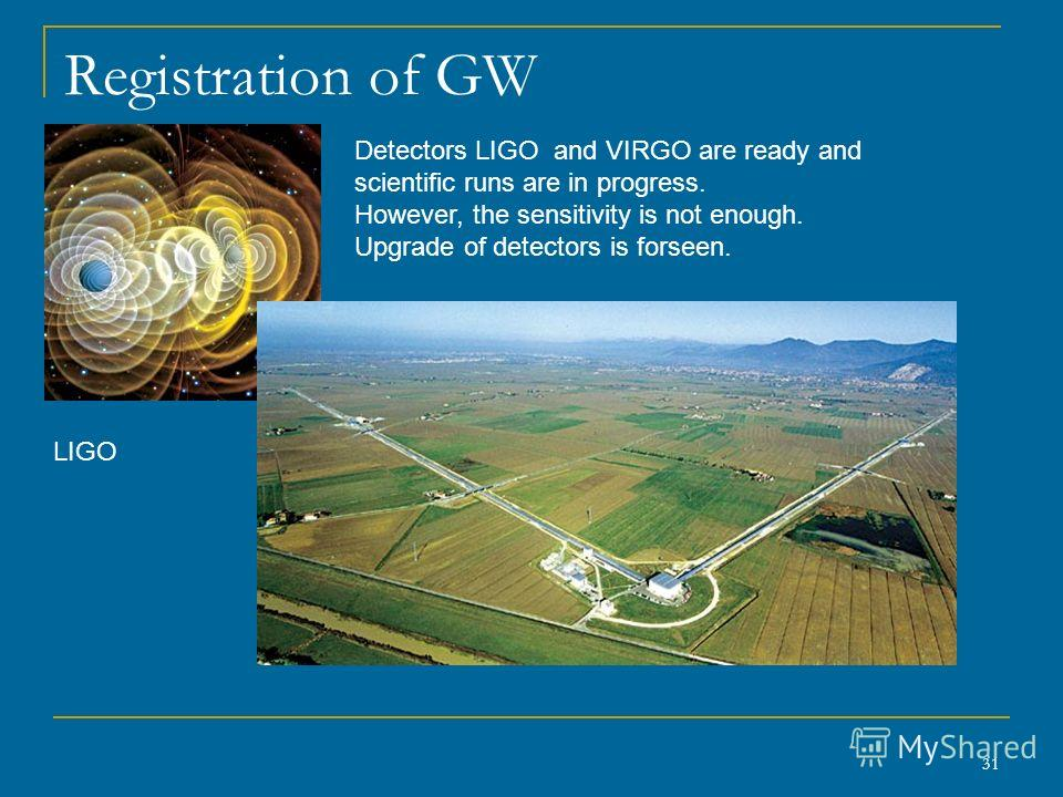 31 Registration of GW LIGO Detectors LIGO and VIRGO are ready and scientific runs are in progress. However, the sensitivity is not enough. Upgrade of detectors is forseen.