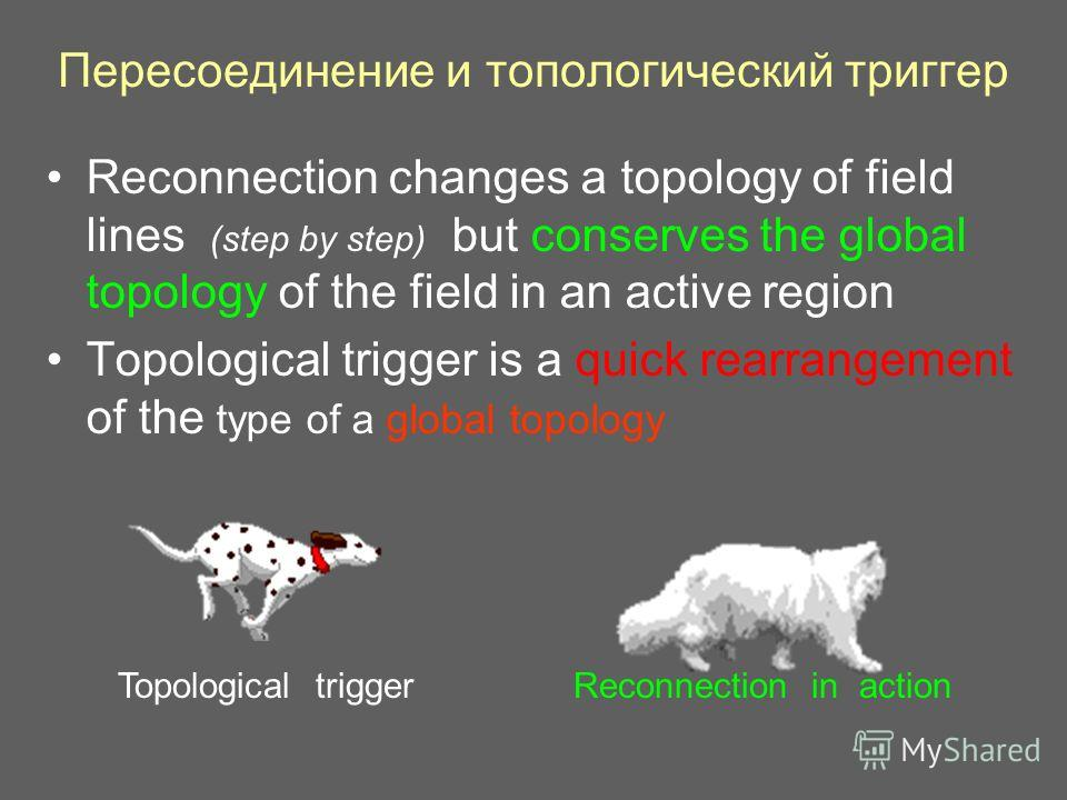 Пересоединение и топологический триггер Reconnection changes a topology of field lines (step by step) but conserves the global topology of the field in an active region Topological trigger is a quick rearrangement of the type of a global topology Top