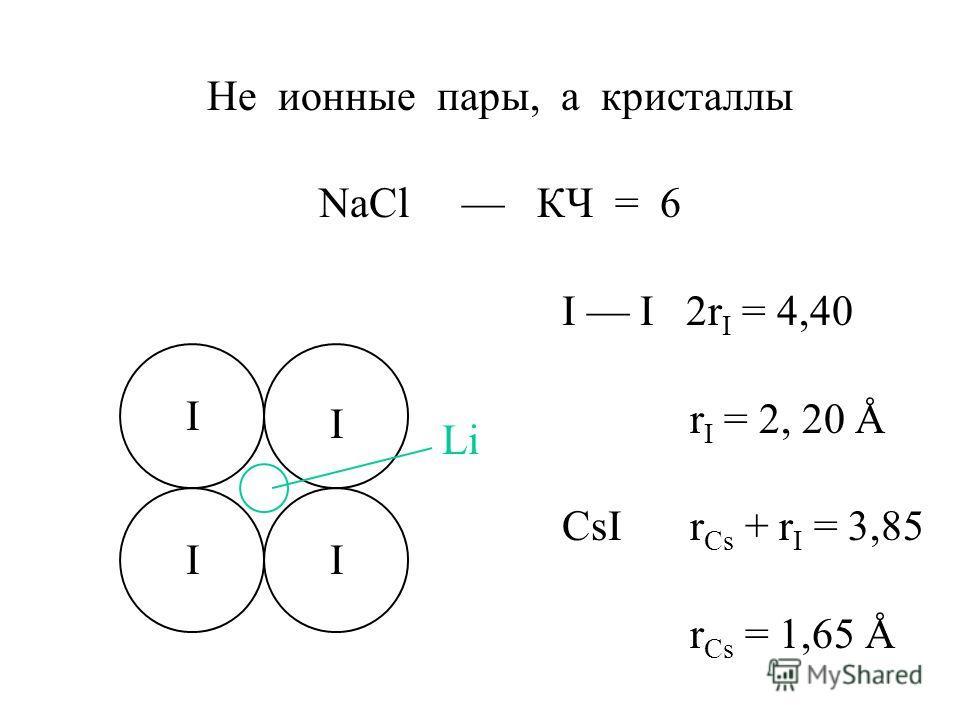 Не ионные пары, а кристаллы NaCl КЧ = 6 I I 2r I = 4,40 r I = 2, 20 Å CsI r Cs + r I = 3,85 r Cs = 1,65 Å I I II Li
