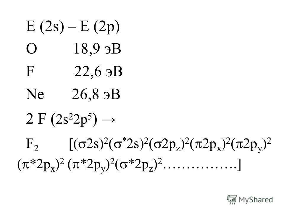 E (2s) – E (2p) O 18,9 эВ F 22,6 эВ Ne 26,8 эВ 2 F ( 2s 2 2p 5 ) F 2 [( 2s) 2 ( * 2s) 2 ( 2p z ) 2 ( 2p x ) 2 ( 2p y ) 2 ( *2p x ) 2 ( *2p y ) 2 ( *2p z ) 2 …………….]