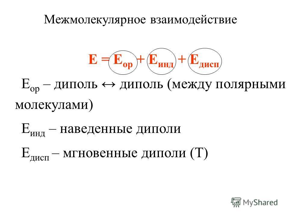 Межмолекулярное взаимодействие Е = Е ор + Е инд + Е дисп Е ор – диполь диполь (между полярными молекулами) Е инд – наведенные диполи Е дисп – мгновенные диполи (Т)