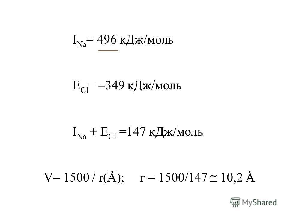 I Na = 496 кДж/моль E Cl = –349 кДж/моль I Na + E Cl =147 кДж/моль V= 1500 / r(Å); r = 1500/147 10,2 Å