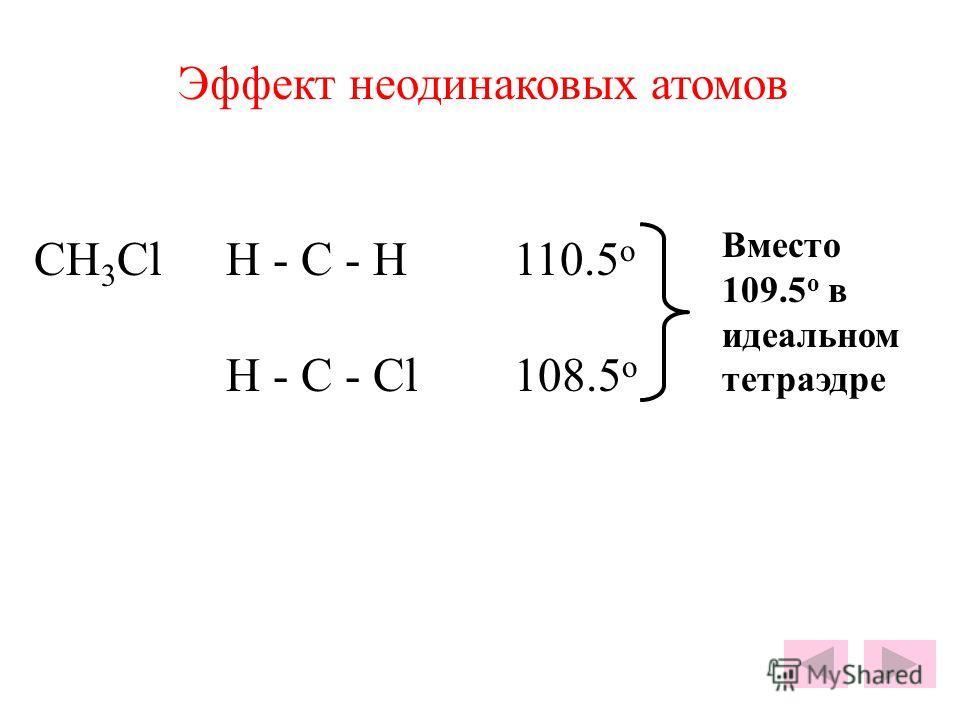 Эффект неодинаковых атомов CH 3 ClH - C - H110.5 o H - C - Cl108.5 o Вместо 109.5 o в идеальном тетраэдре