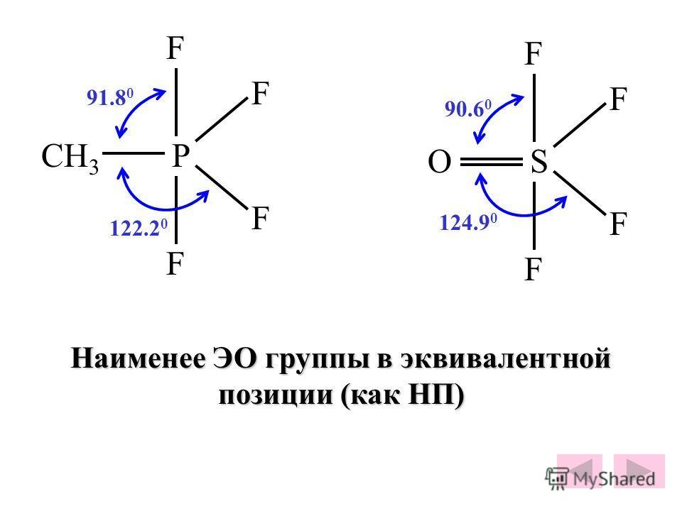 P F F F F CH 3 S F F F F O 91.8 0 90.6 0 122.2 0 124.9 0 Наименее ЭО группы в эквивалентной позиции (как НП)