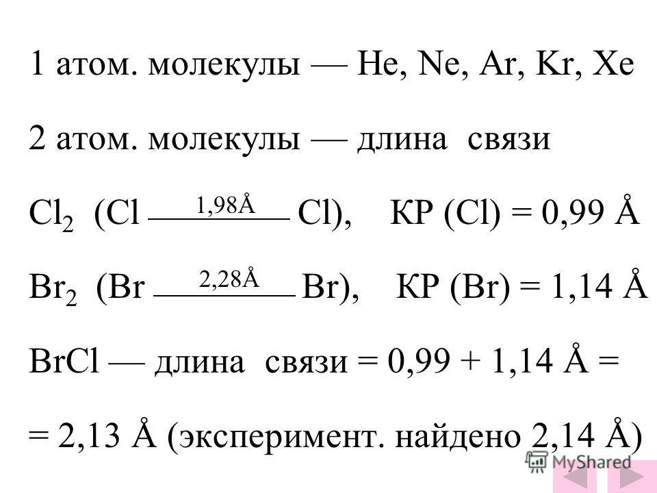 1 атом. молекулы He, Ne, Ar, Kr, Xe 2 атом. молекулы длина связи Cl 2 (Cl 1,98Å Cl), КР (Cl) = 0,99 Å Br 2 (Br 2,28Å Br), КР (Br) = 1,14 Å BrCl длина связи = 0,99 + 1,14 Å = = 2,13 Å (эксперимент. найдено 2,14 Å)