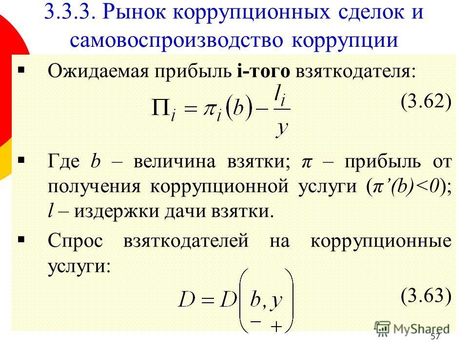 57 Ожидаемая прибыль i-того взяткодателя: (3.62) Где b – величина взятки; π – прибыль от получения коррупционной услуги (π(b)