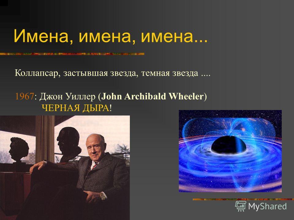 Имена, имена, имена... Коллапсар, застывшая звезда, темная звезда.... 1967: Джон Уиллер (John Archibald Wheeler) ЧЕРНАЯ ДЫРА!