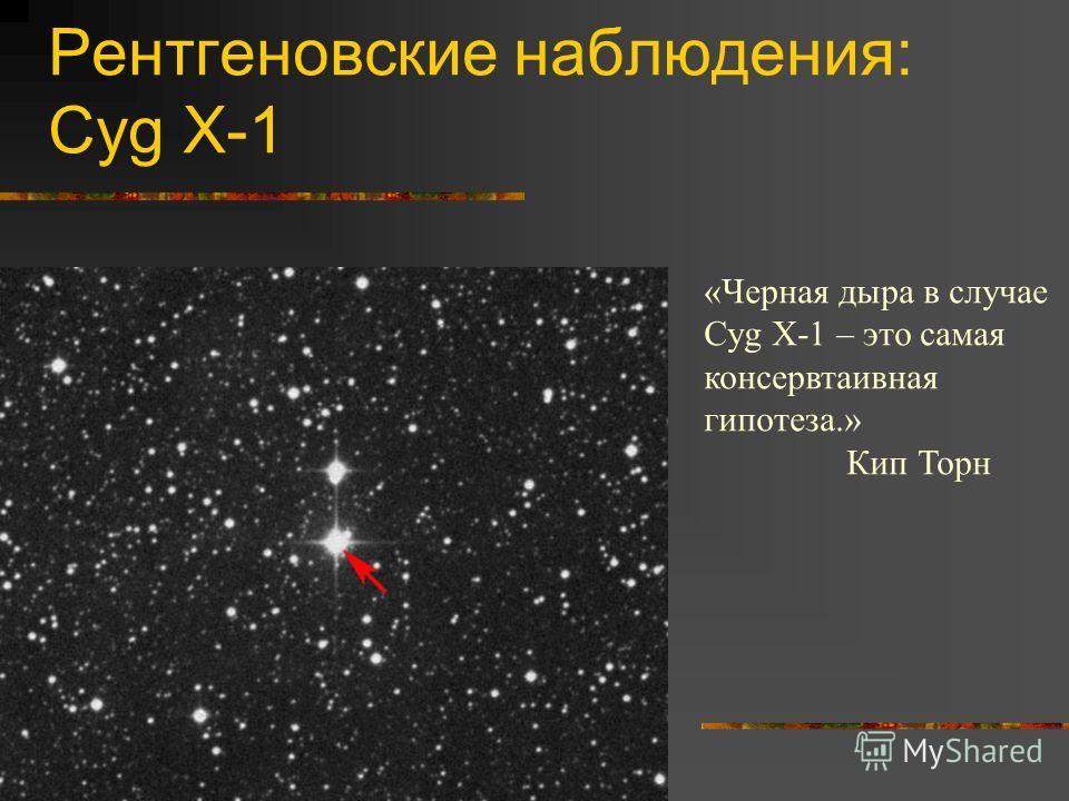 Рентгеновские наблюдения: Cyg X-1 «Черная дыра в случае Cyg X-1 – это самая консервтаивная гипотеза.» Кип Торн
