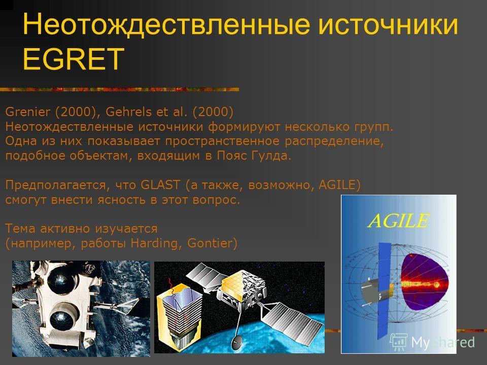 Неотождествленные источники EGRET Grenier (2000), Gehrels et al. (2000) Неотождествленные источники формируют несколько групп. Одна из них показывает пространственное распределение, подобное объектам, входящим в Пояс Гулда. Предполагается, что GLAST