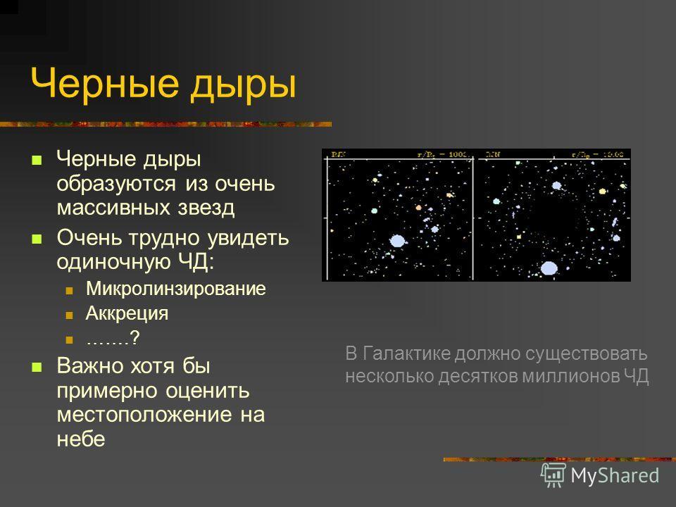 Черные дыры Черные дыры образуются из очень массивных звезд Очень трудно увидеть одиночную ЧД: Микролинзирование Аккреция …….? Важно хотя бы примерно оценить местоположение на небе В Галактике должно существовать несколько десятков миллионов ЧД