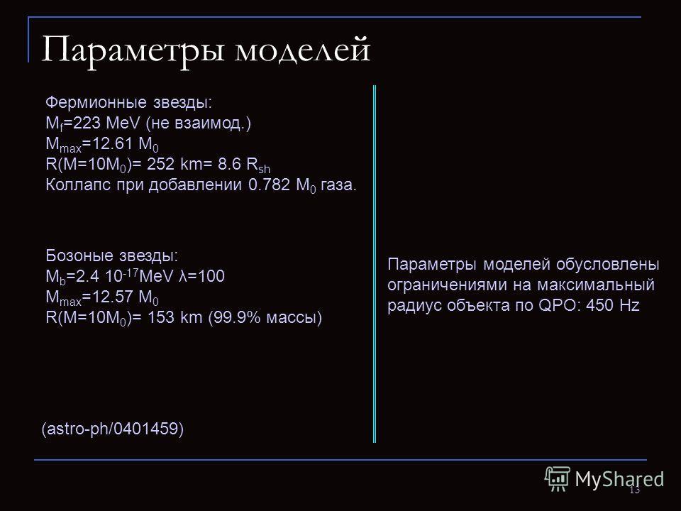 13 Параметры моделей (astro-ph/0401459) Фермионные звезды: M f =223 MeV (не взаимод.) M max =12.61 M 0 R(M=10M 0 )= 252 km= 8.6 R sh Коллапс при добавлении 0.782 M 0 газа. Бозоные звезды: M b =2.4 10 -17 MeV λ=100 M max =12.57 M 0 R(M=10M 0 )= 153 km