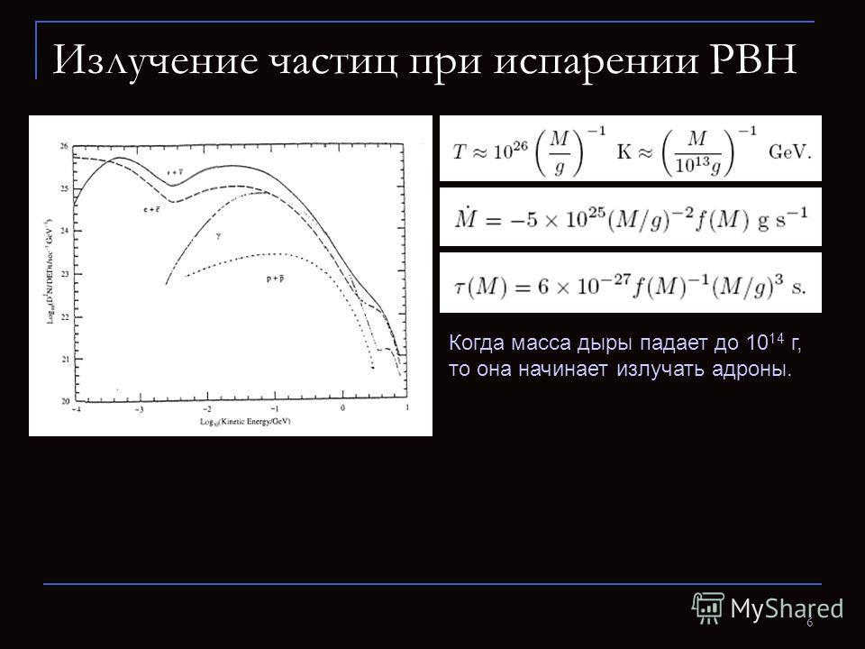 6 Излучение частиц при испарении PBH Когда масса дыры падает до 10 14 г, то она начинает излучать адроны.