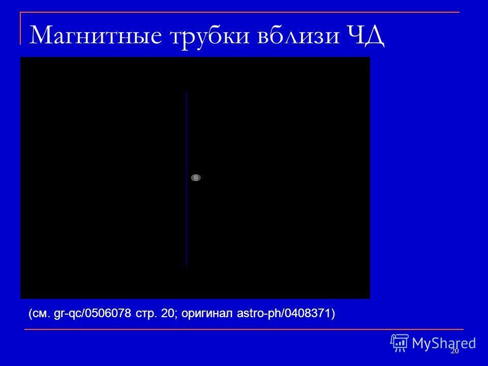 20 Магнитные трубки вблизи ЧД (см. gr-qc/0506078 стр. 20; оригинал astro-ph/0408371)