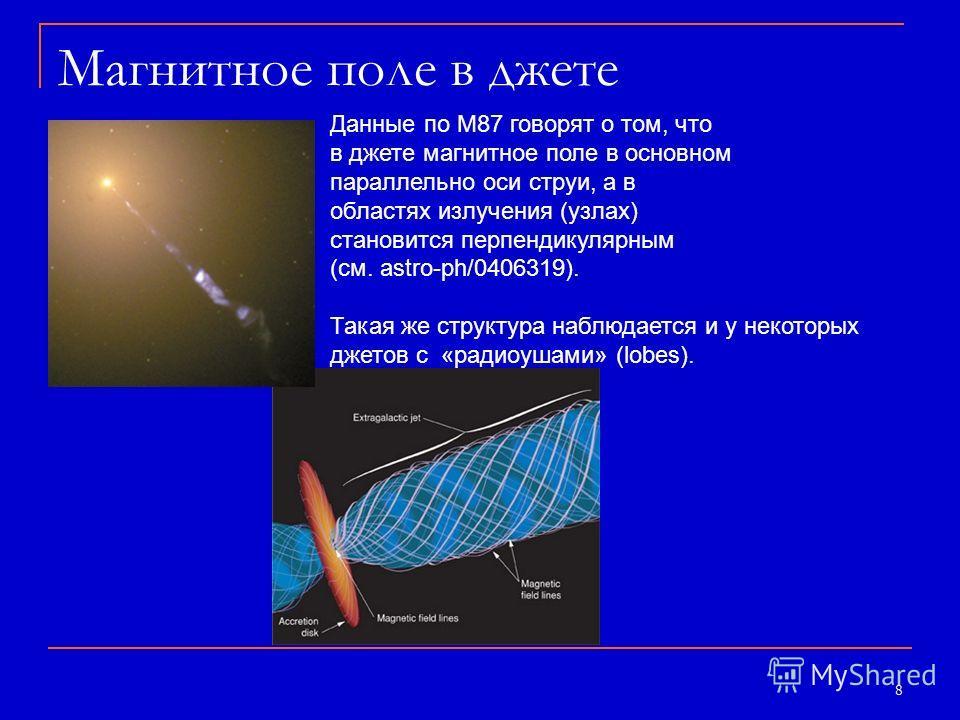8 Магнитное поле в джете Данные по М87 говорят о том, что в джете магнитное поле в основном параллельно оси струи, а в областях излучения (узлах) становится перпендикулярным (см. astro-ph/0406319). Такая же структура наблюдается и у некоторых джетов