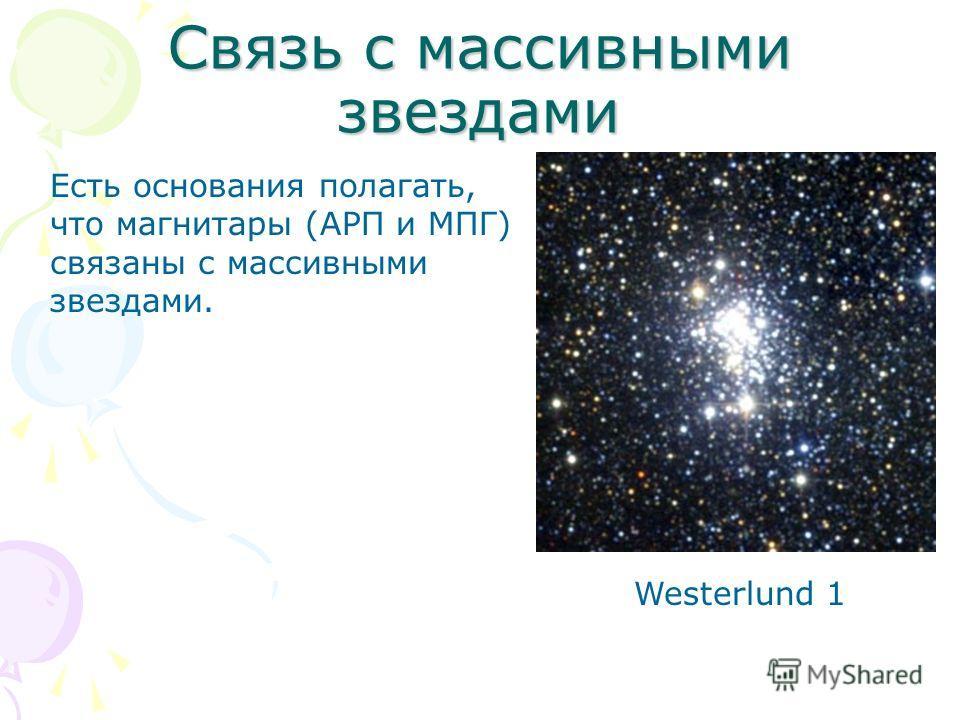Связь с массивными звездами Westerlund 1 Есть основания полагать, что магнитары (АРП и МПГ) связаны с массивными звездами.