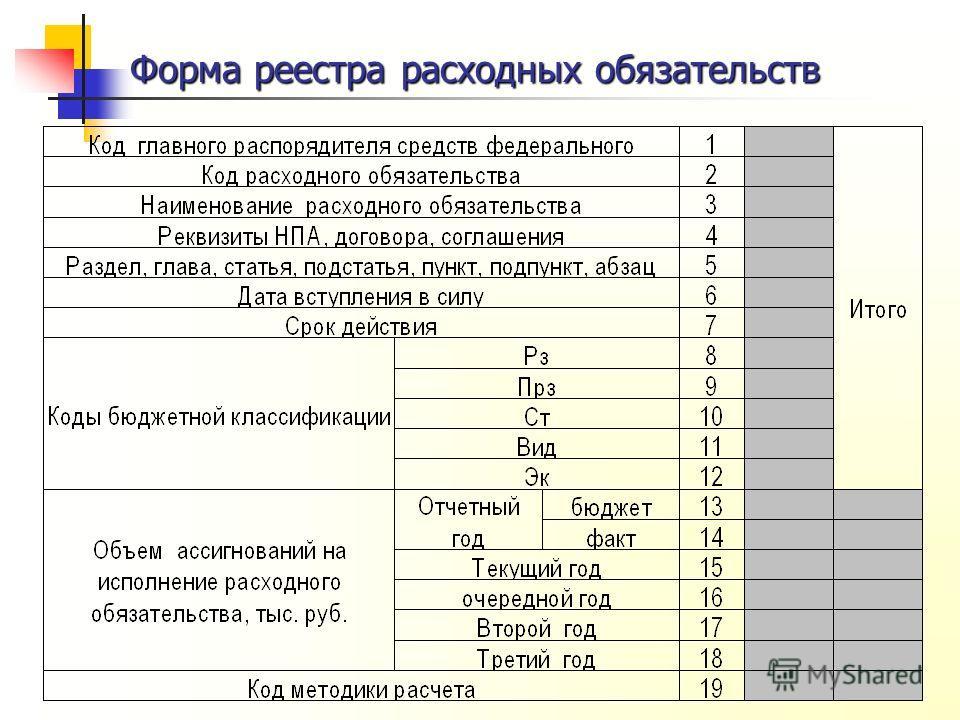 Форма реестра расходных обязательств