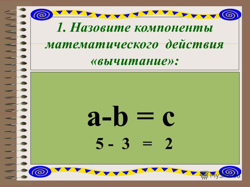 1. Назовите компоненты математического действия «вычитание»: a-b = c 5 - 3 = 2