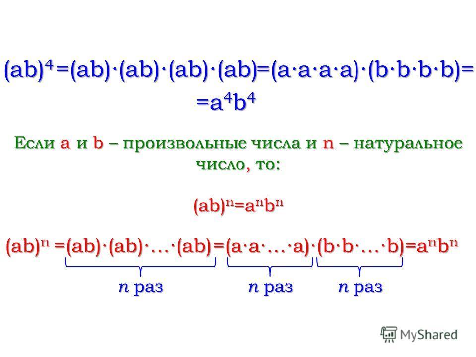 (ab) 4 =(ab)(ab)(ab)(ab) =(aaaa)(bbbb) = =a 4 b 4 Если a и b – произвольные числа и n – натуральное число, то: (ab) n =a n b n (ab) n =(ab)(ab)…(ab) =(aa…a)(bb…b) =a n b n n раз