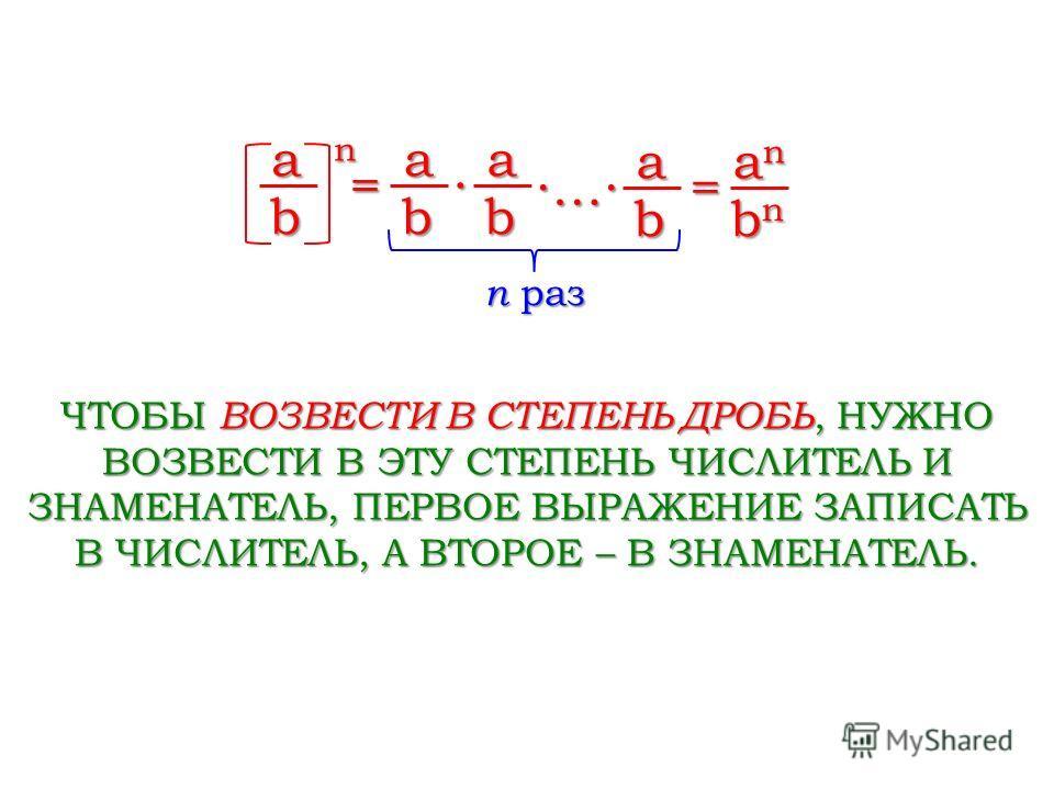 n раз a na na na n = b a b a b … a b = anananan bnbnbnbn ЧТОБЫ ВОЗВЕСТИ В СТЕПЕНЬ ДРОБЬ, НУЖНО ВОЗВЕСТИ В ЭТУ СТЕПЕНЬ ЧИСЛИТЕЛЬ И ЗНАМЕНАТЕЛЬ, ПЕРВОЕ ВЫРАЖЕНИЕ ЗАПИСАТЬ В ЧИСЛИТЕЛЬ, А ВТОРОЕ – В ЗНАМЕНАТЕЛЬ.