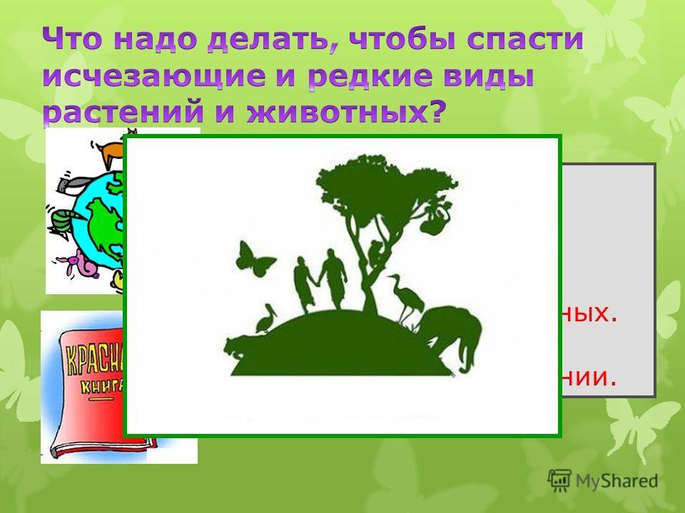 Запретить охоту. Запретить чрезмерную добычу животных. Запретить разрушать места обитания животных. Охранять заповедники. Заботиться о размножении.