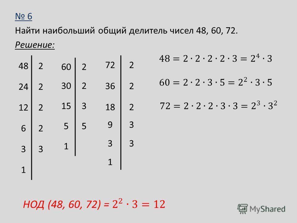 6 Найти наибольший общий делитель чисел 48, 60, 72. Решение: 482 242 122 62 33 1 602 302 153 55 1 722 362 182 93 33 1