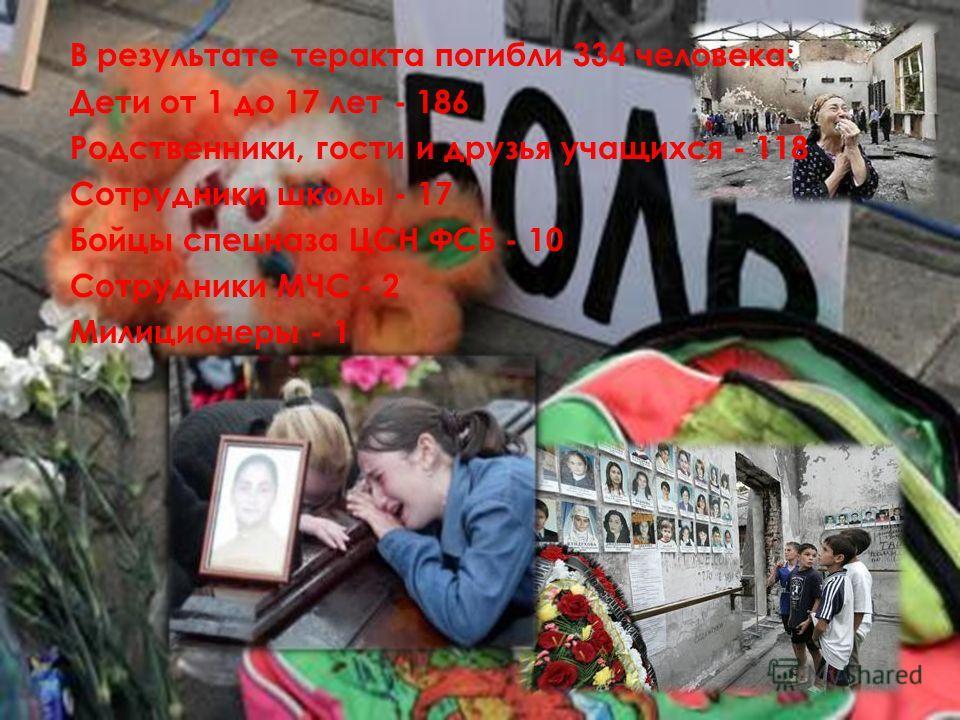 В результате теракта погибли 334 человека: Дети от 1 до 17 лет - 186 Родственники, гости и друзья учащихся - 118 Сотрудники школы - 17 Бойцы спецназа ЦСН ФСБ - 10 Сотрудники МЧС - 2 Милиционеры - 1