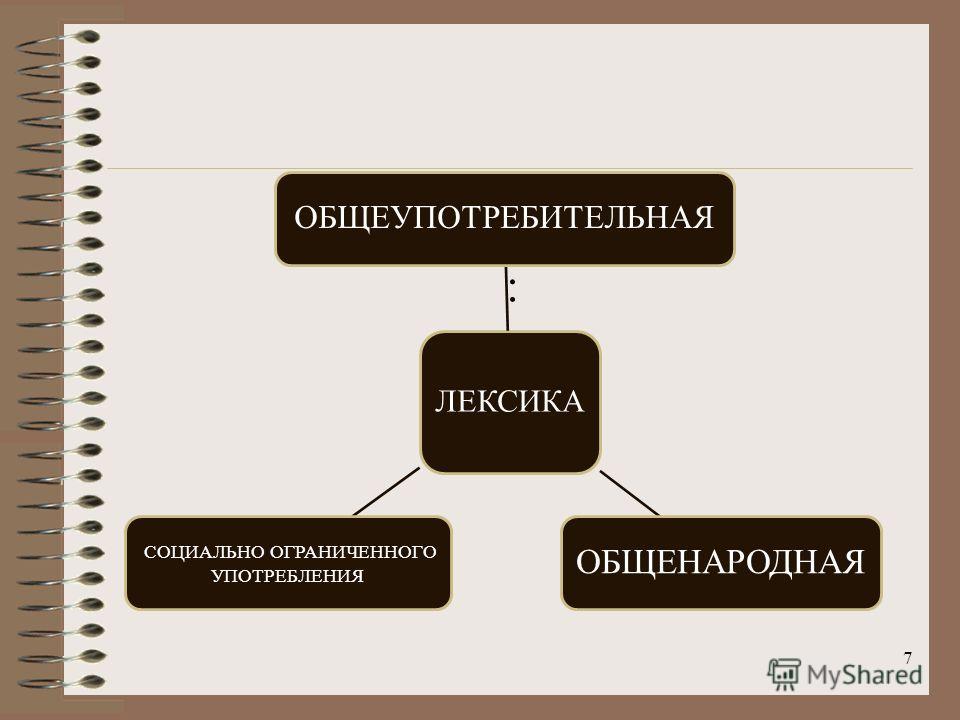 7 : ЛЕКСИКА ОБЩЕУПОТРЕБИТЕЛЬНАЯ ОБЩЕНАРОДНАЯ СОЦИАЛЬНО ОГРАНИЧЕННОГО УПОТРЕБЛЕНИЯ