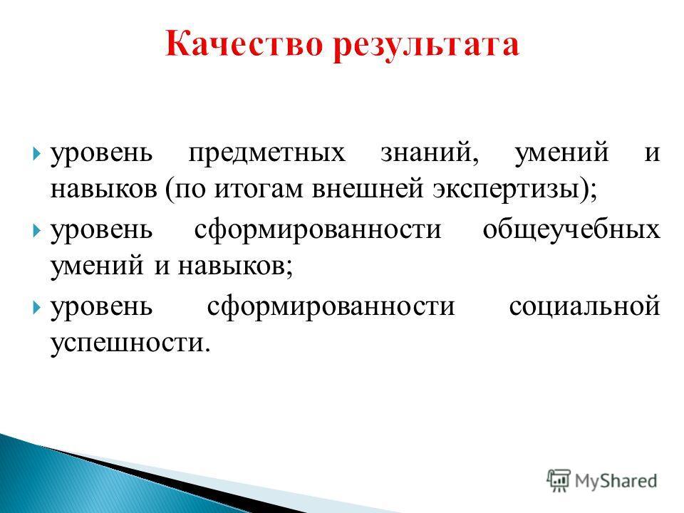 уровень предметных знаний, умений и навыков (по итогам внешней экспертизы); уровень сформированности общеучебных умений и навыков; уровень сформированности социальной успешности.