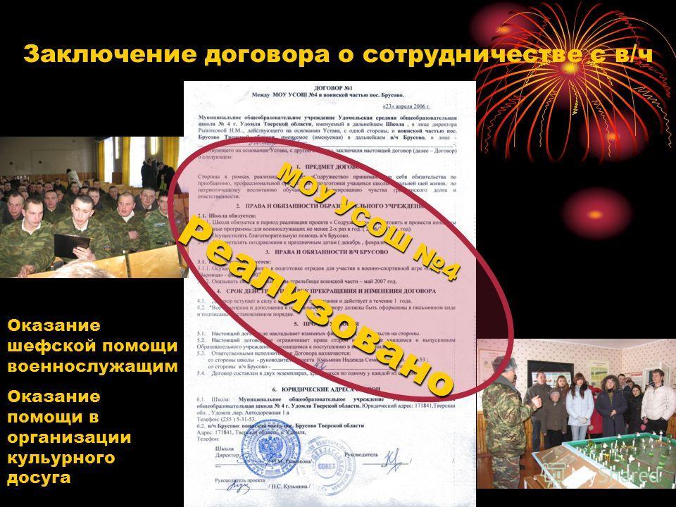 Заключение договора о сотрудничестве с в/ч МОУ УСОШ 4 Реализовано Оказание шефской помощи военнослужащим Оказание помощи в организации кульурного досуга