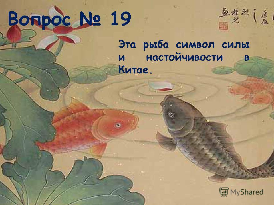 Вопрос 19 Эта рыба символ силы и настойчивости в Китае.