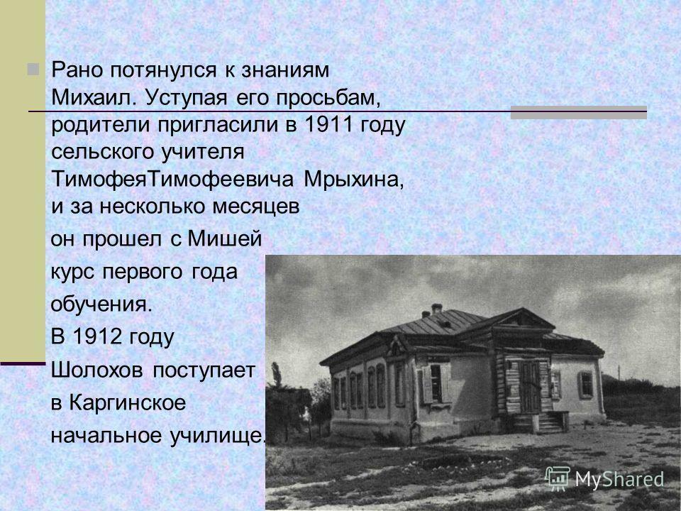Значительная часть детства будущего писателя прошла в станице Каргинской, куда семья Шолоховых переехала в 1910 году.