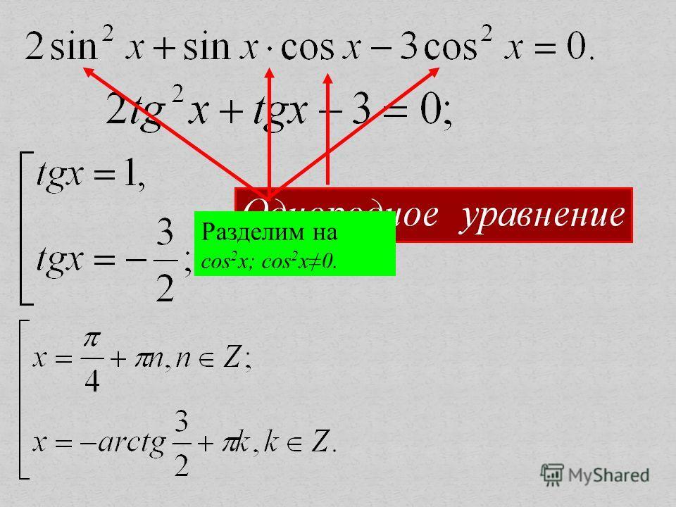 Разделим на cos 2 x; cos 2 x0.
