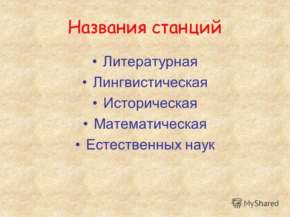 Названия станций Литературная Лингвистическая Историческая Математическая Естественных наук