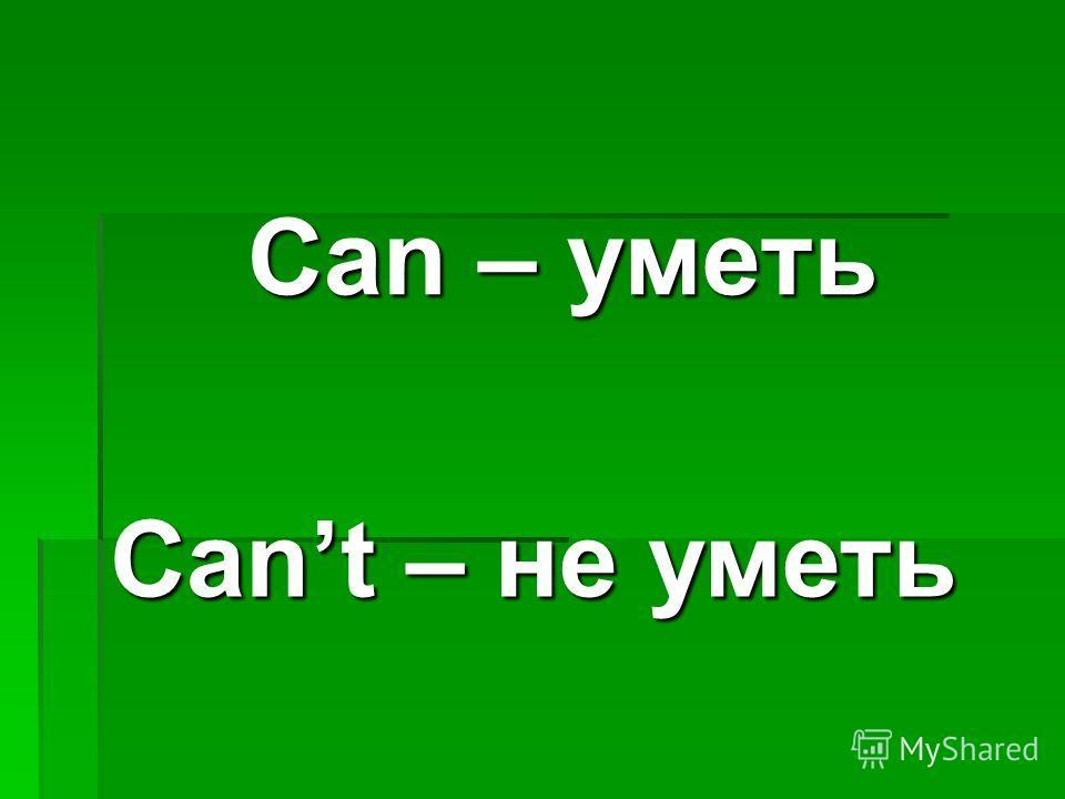Can – уметь Cant – не уметь