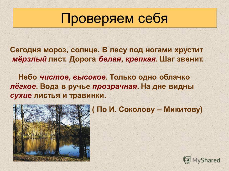 Проверяем себя Сегодня мороз, солнце. В лесу под ногами хрустит мёрзлый лист. Дорога белая, крепкая. Шаг звенит. Небо чистое, высокое. Только одно облачко лёгкое. Вода в ручье прозрачная. На дне видны сухие листья и травинки. ( По И. Соколову – Микит