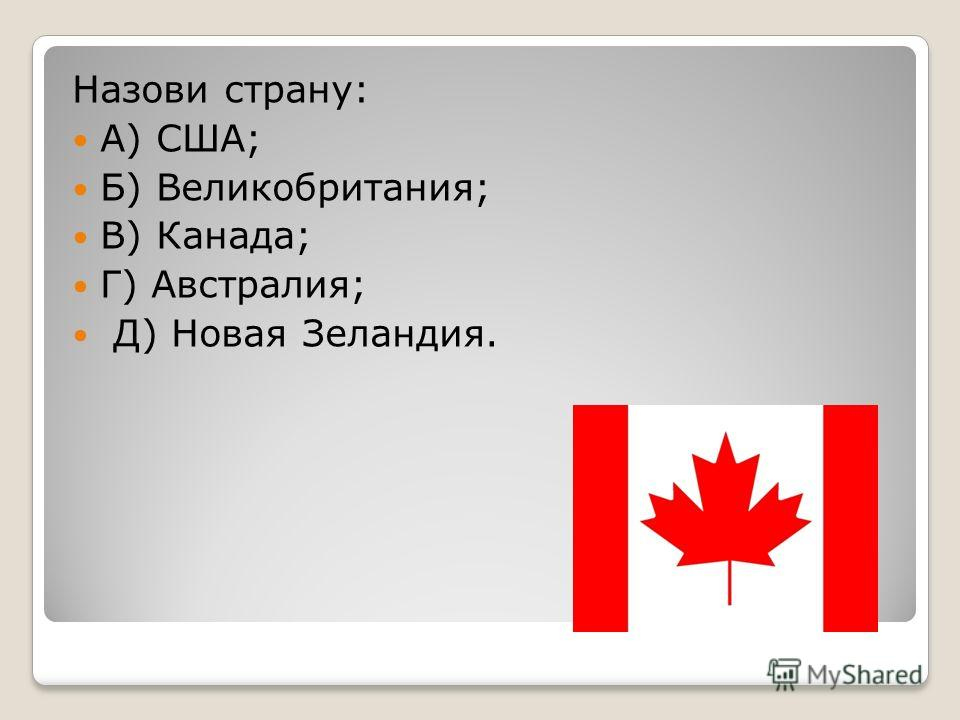 Назови страну: А) США; Б) Великобритания; В) Канада; Г) Австралия; Д) Новая Зеландия.