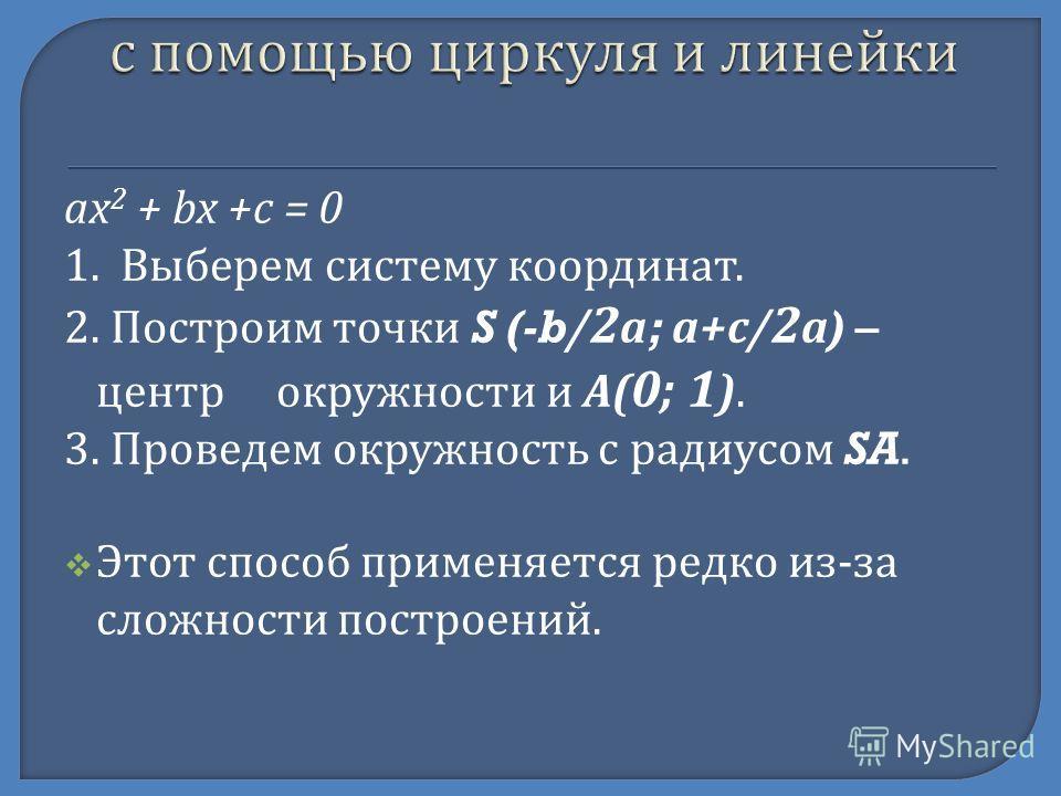 ax 2 + bx +c = 0 1. Выберем систему координат. 2. Построим точки S (-b/ 2 а ; а + с / 2 а ) – центр окружности и А ( 0; 1 ). 3. Проведем окружность с радиусом SA. Этот способ применяется редко из - за сложности построений.