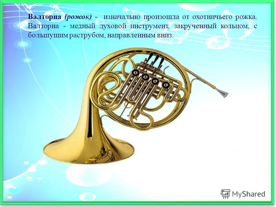 Валторна (рожок) - изначально произошла от охотничьего рожка. Валторна - медный духовой инструмент, закрученный кольцом, с большущим раструбом, направленным вниз.