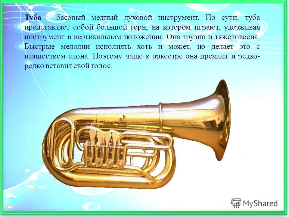 Туба - басовый медный духовой инструмент. По сути, туба представляет собой большой горн, на котором играют, удерживая инструмент в вертикальном положении. Она грузна и тяжеловесна. Быстрые мелодии исполнять хоть и может, но делает это с изяществом сл