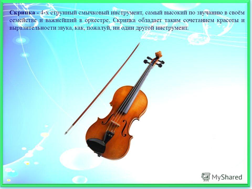 Скрипка - 4-х струнный смычковый инструмент, самый высокий по звучанию в своём семействе и важнейший в оркестре. Скрипка обладает таким сочетанием красоты и выразительности звука, как, пожалуй, ни один другой инструмент.