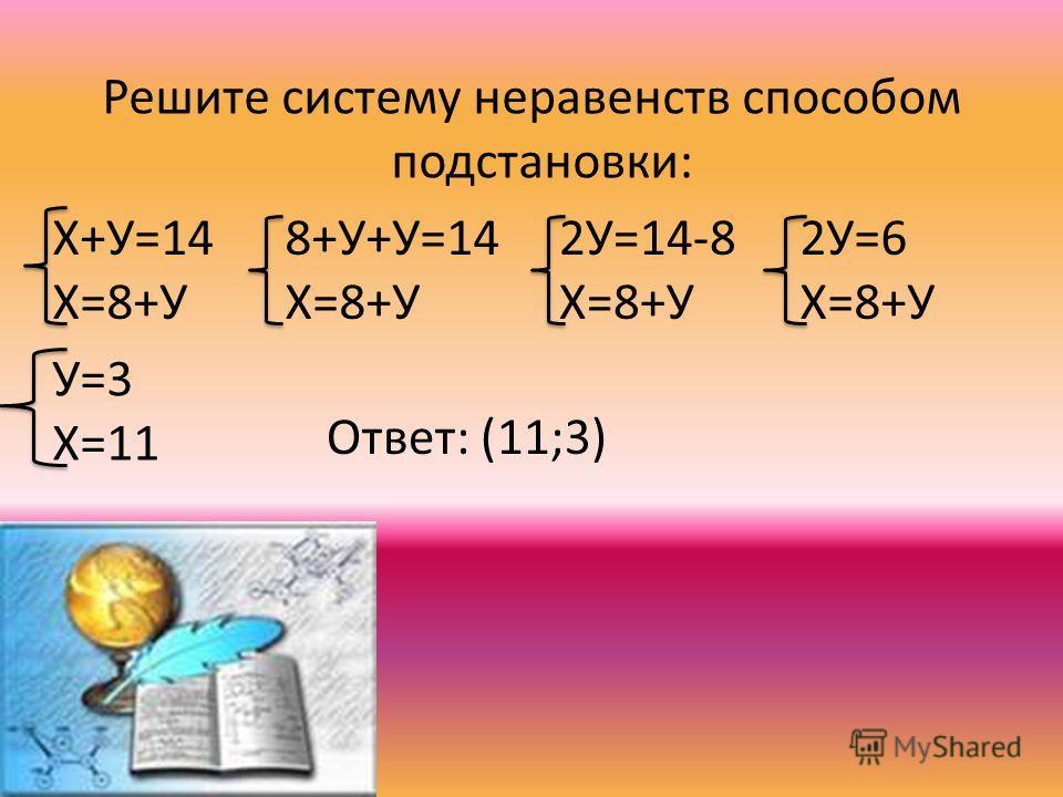 Решите систему неравенств способом подстановки: Х+У=14 Х=8+У 8+У+У=14 Х=8+У 2У=14-8 Х=8+У 2У=6 Х=8+У У=3 Х=11 Ответ: (11;3)