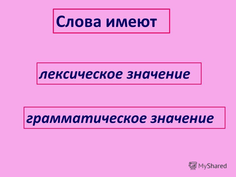 Слова имеют лексическое значение грамматическое значение