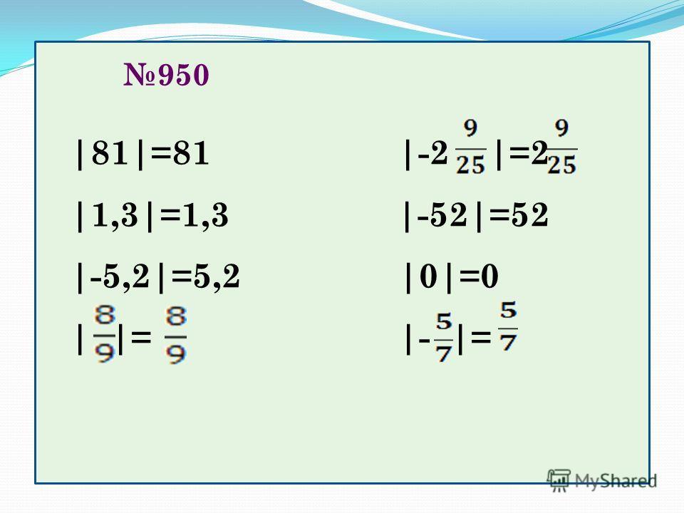 950 |81|=81 |-2 |=2 |1,3|=1,3 |-52|=52 |-5,2|=5,2 |0|=0 | |= |- |=