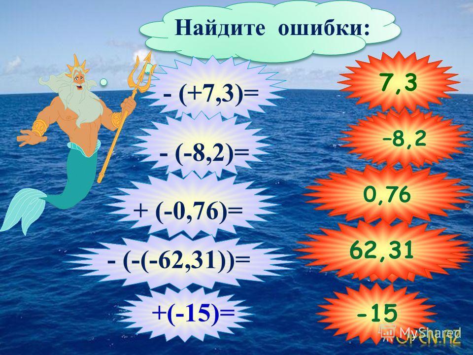 Найдите ошибки: - (+7,3)= - (-8,2)= + (-0,76)= -62,31 -15 - (-(-62,31))= +(-15)= -0,76 62,31 – 7,3 8,2 –8,2 7,3 0,76