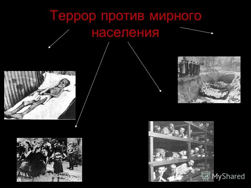 Террор против мирного населения Планирование голодной смерти Организованное снижение рождаемости и ликвидация санитарно-медицинского обслуживания Истребление интеллигенции Переселение населения